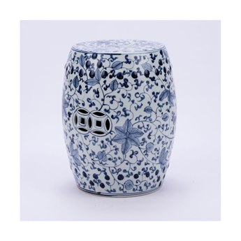 Legend of Asia Blue & White Climbing Vines Porcelain Garden Stool