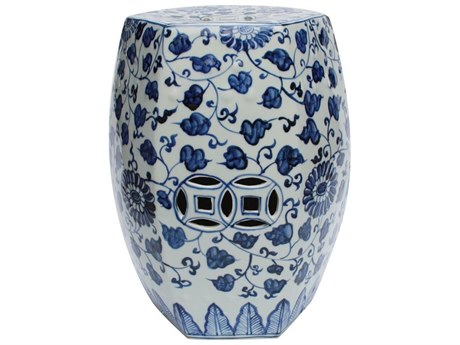 Legend of Asia Blue & White Hexagonal Porcelain Garden Stool Grape Vines