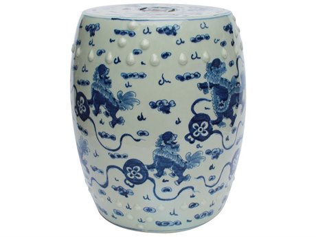 Legend of Asia Blue & White Playing Lions Porcelain Garden Stool