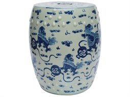 Blue & White Playing Lions Porcelain Garden Stool