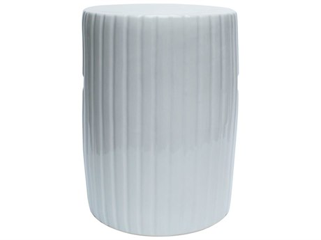 Legend of Asia White Porcelain Garden Stool Cylinder Pumpkin
