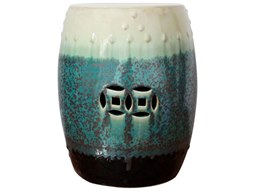 Rusty Teal Reaction Glazed Porcelain Garden Stool