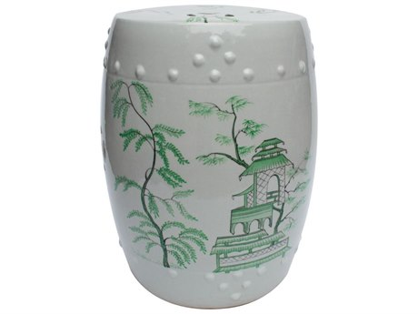 Legend of Asia White Porcelain Garden Stool with Chinoiserie Motif LOA1461