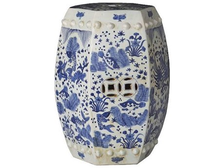 Legend of Asia Blue & White Hexagonal Fish Porcelain Garden Stool