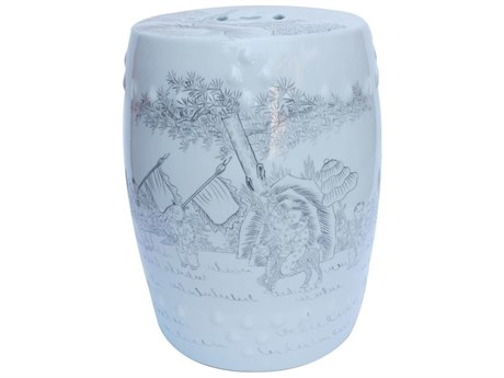 Legend of Asia Icy Blue Ink Painting Porcelain Garden Stool With Playful Kids