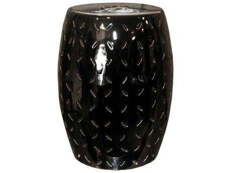 Legend of Asia Black Coin Carving Porcelain Garden Stool
