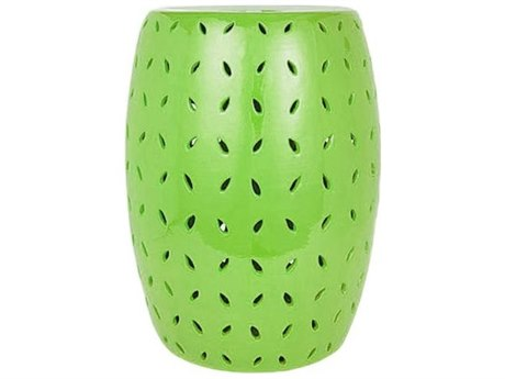 Legend of Asia Lime Green Coin Carving Porcelain Garden Stool LOA1652LG