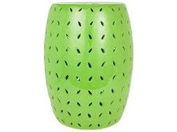 Lime Green Coin Carving Porcelain Garden Stool