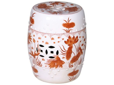 Legend of Asia Red Goldfish Porcelain Garden Stool LOA1664