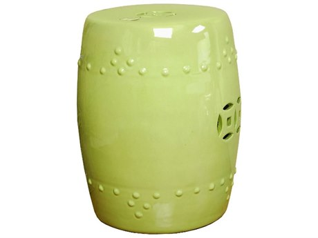 Legend of Asia Moss Green Porcelain Garden Stool LOA1686
