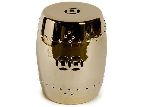 Legend of Asia Metallic Gold Porcelain Garden Stool