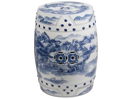 Legend of Asia Blue & White Porcelain Garden Stool with Landscape Design