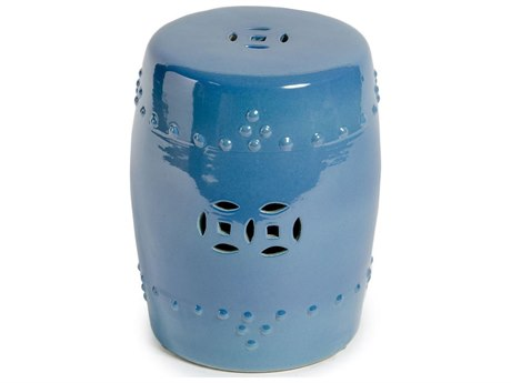 Legend of Asia Crystal Blue Porcelain Garden Stool