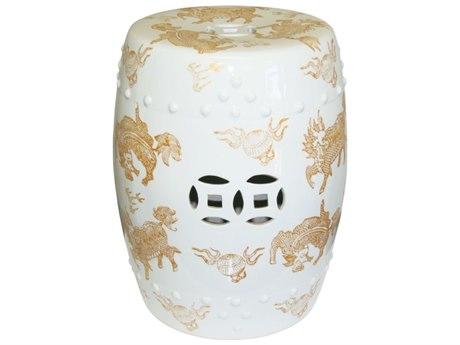 Legend of Asia White & Gold Kylin Porcelain Garden Stool