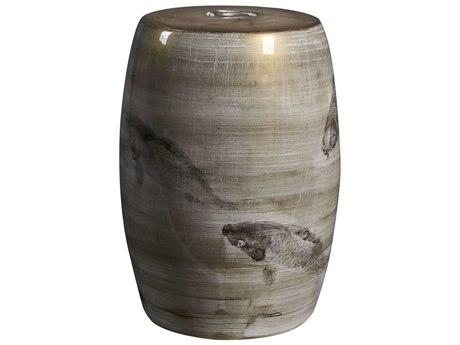 Legend of Asia Brown Ink Painting Koi Porcelain Garden Stool