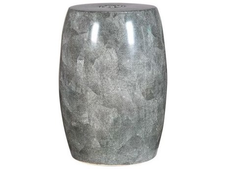 Legend of Asia Shagreen Grey Barrel Porcelain Garden Stool
