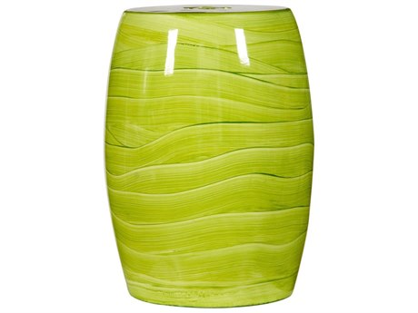 Legend of Asia Lime Green Handpainted Wave Porcelain Garden Stool LOA2048GW