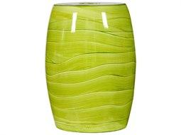 Lime Green Handpainted Wave Porcelain Garden Stool