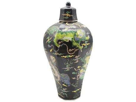 Legend of Asia Black Hex Lidded Prunus Porcelain Vase with Lion Motif LOA1472