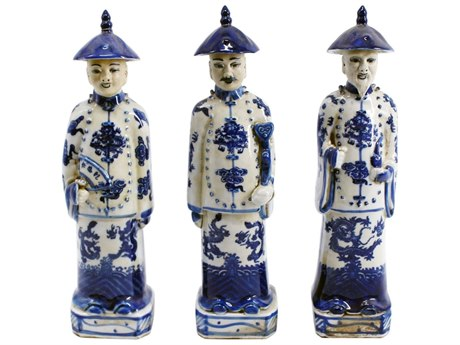 Legend of Asia Blue & White Standing Qing Emperors of Three Generations Sculpture (Set of 3)