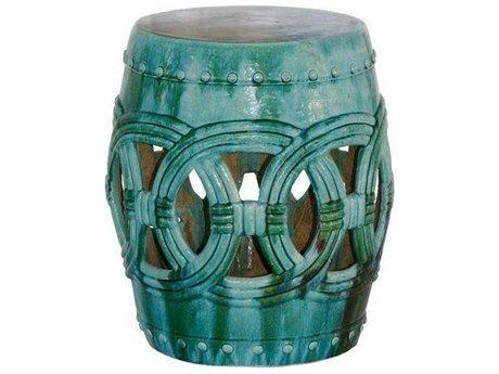Legend of Asia Turquoise Rope Garden Stool