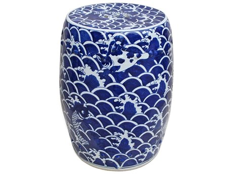 Legend of Asia Blue & White Sea Wave Fish Garden Stool