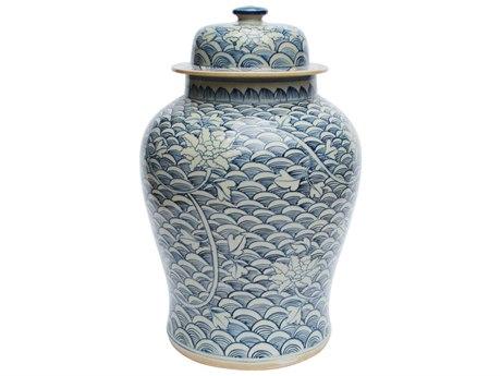 Legend of Asia Blue & White Temple Porcelain Jar Sea Wave Lotus LOA1452