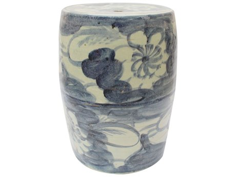 Legend of Asia Blue & White Silla Porcelain Garden Stool Twisted Flower