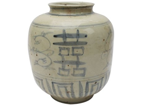 Legend of Asia Blue & White Small Silla Pot with Seagrass Motif
