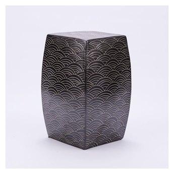 Legend of Asia Black Seawave Square Porcelain Garden Stool