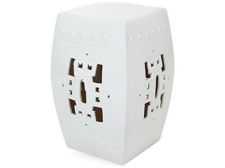 Legend of Asia White Square Hook Porcelain Garden Stool