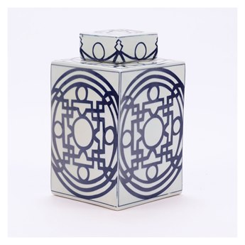Legend of Asia Blue & White Square Tea Jar With Pattern of Lines