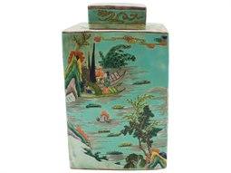 Mint Green Porcelain Square Tea Jar with Landscape Motif