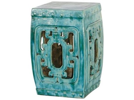 Legend of Asia Turquoise Square Hook Garden Stool
