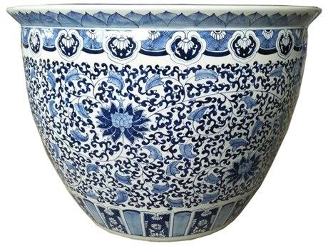 Legend of Asia Blue & White Large Porcelain Sunflower Leaf Planter