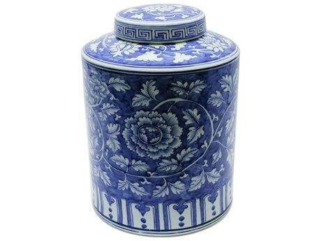 Legend of Asia Blue & White Penoy Cylinder Tea Porcelain Jar