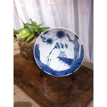 Legend of Asia Blue & White Deer Under Pine Trees Plate