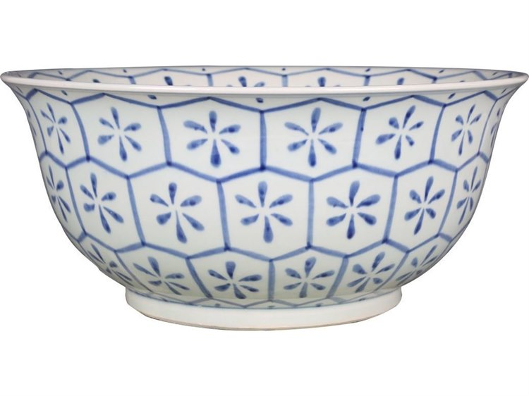 Legend of Asia Blue & White Turtle Shell Motif Bowl