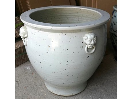 Legend of Asia Vintage White Planter With Lion Handles