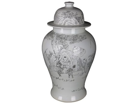 Legend of Asia White Temple Carving People Jar LOA1725