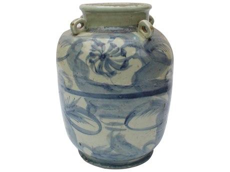 Legend of Asia Blue & White Four Loop Handle Porcelain Jar Twisted Flower