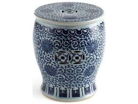 Legend of Asia Blue & White Twisted Lotus Drum Stool