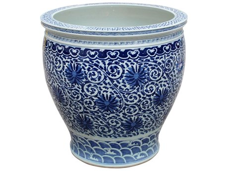 Legend of Asia Blue & White Large Twisted Lotus Bowl Shape Planter