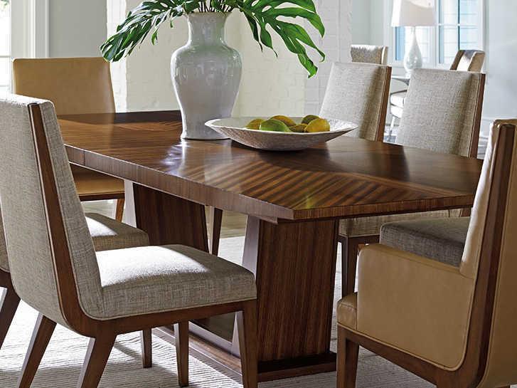 lexington dining room table   Lexington Kitano Rich Brown Hazelnut 82'' Wide Rectangular ...