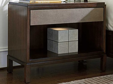 Lexington Macarthur Park Walnut with Taupe Faux Leather Rectangular One-Drawer Nightstand