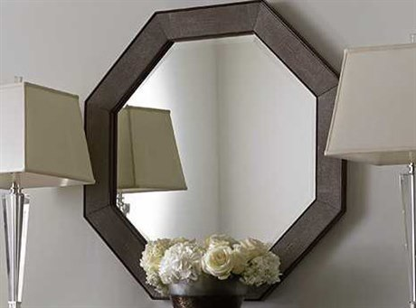 Lexington Macarthur Park Faux shagreen panels in a taupe coloration with wooden perimeter. Wall Mirror