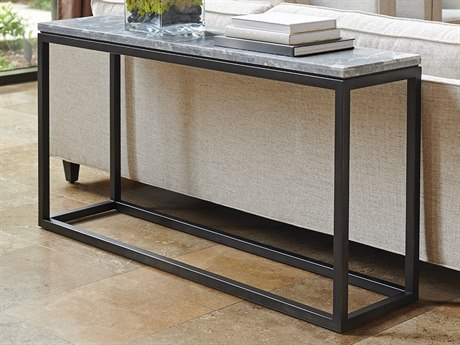Lexington Santana Bahia Marble / Aged Iron 58'' Wide Rectangular Console Table