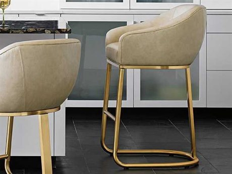 Lexington Take Five Brass Plated Stainless Steel Arm Bar Height Stool