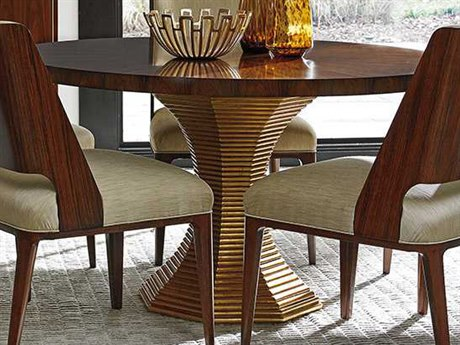 Lexington Take Five Rosewood with Burnished Gold Leaf Round Dining Table