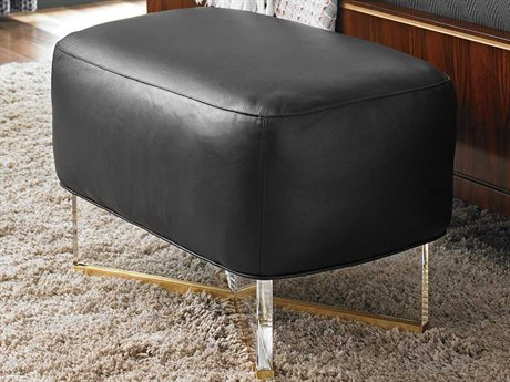Lexington Take Five Polished Acrylic with Brass Plated Stainless Steel Ottoman LXLL181944